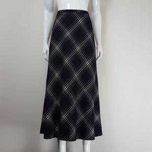 Vintage Black Plaid Wool Midi Skirt